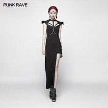 Punk Rave Women Dress Casual Party Black Fashion Cotton Asymmetric Retro Streetwear Sexy for