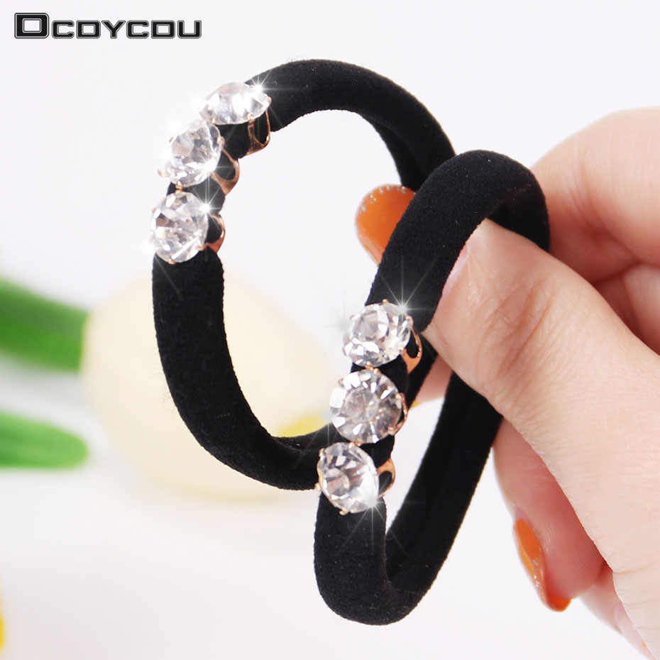 10PCS Fashion Korean Style Head Wear Women Hair Circle Ladies Elastic Hair Band Luxury Rhinestone Female Hair Accessories