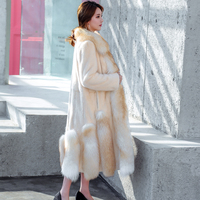 New nine tailed real fox fur coat in the long paragraph real mink fur coat fox skirt