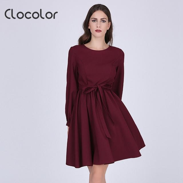 Clocolor otoño dress rojo elegante de manga larga a-line dress otoño invierno señora dress otoño hasta la rodilla solid mujeres vintage dress