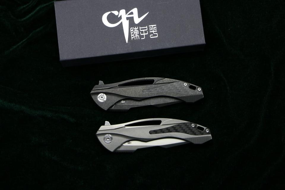 CH CH3519 Flipper folding knife s35vn blade carbon fiber Titanium handle outdoor camping hunting pocket fruit Knives EDC tool (12)