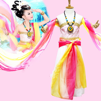 Jie Yu Hua Little Girl Classical Dance Costume Dun Huang Fei Tian Tang Princess Hanfu Children's Day Stage Performance Cosplay fei yu