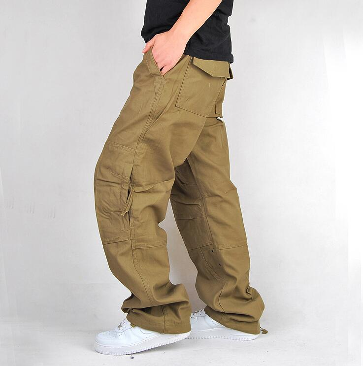 Khaki joggers work men pants pocket mens pants casual fashion men ...