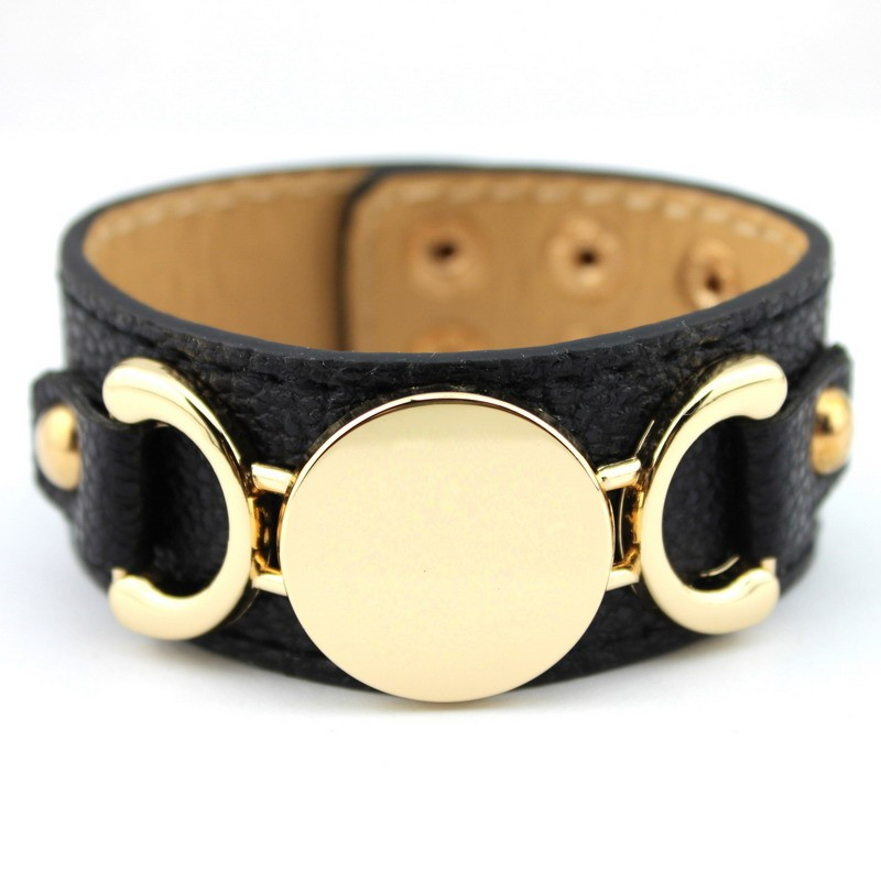 Wholesale Silver & Gold Blank Monogram Leather Wrap Bracelets for Women Fashion Snap Jewelry 26