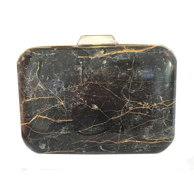 e32e1b0897e2 ... 2019 Новая мода PU Bolsa Feminina камень мраморный узор дизайн женская  черная квадратная коробка клатч вечерние ...