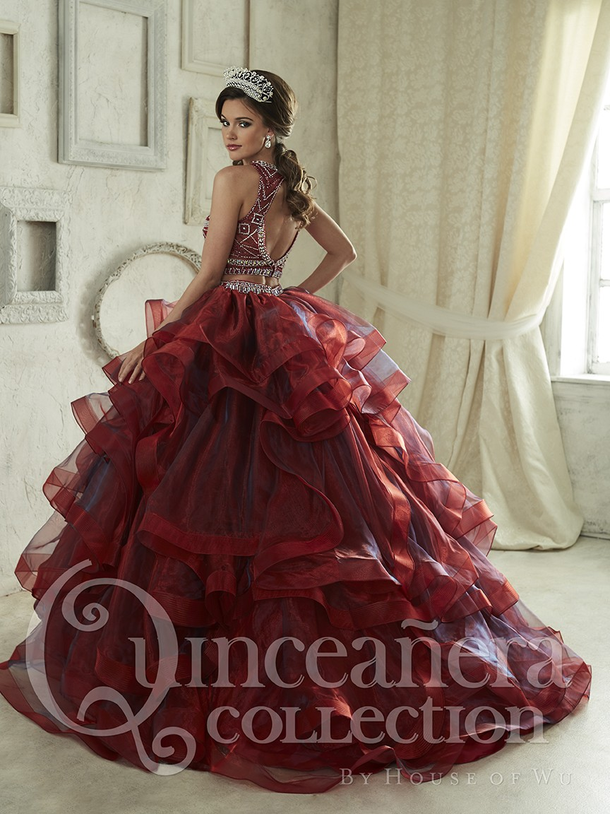 Blue Burgundy Two Pieces Quinceanera Dresses With Beaded For 15 Year