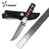 KKWOLF alça De Couro padrão de aço de Damasco faca de Caça Faca de Lâmina Fixa Tático Faca de acampamento Ao Ar Livre Facas de sobrevivência presente