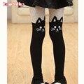 Muchachas del resorte medias de las medias de los niños de dibujos animados para niñas baby cat panti medias de cintura elástica de punto de costura