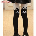 Spring Girls Tights Kids Cartoon Tights For Girls Baby Cat Elastic Waist Knitted Stitching Pantyhose Stocking