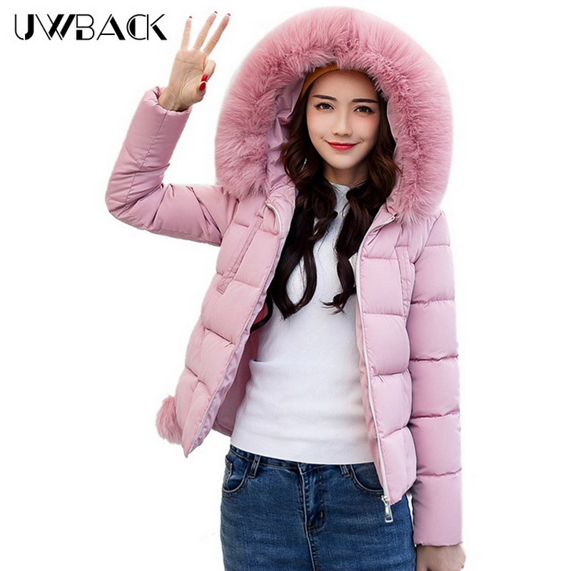 Uwback Women Short Jacket Winter Coat with Faux Fur Hood 2017 New Casual Parka Mujer Solid Color Outwear Slim Warm, EB262 uwback women winter jacket faux fur hood 2017 new female wadded jacket long cotton padded coat mujer warm parka slim eb249