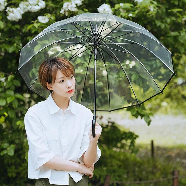 Yesello с длинной ручкой прозрачный зонтик простая Мода предотвращает ветер дождь 14 зонтик кости автоматические прозрачные зонтик