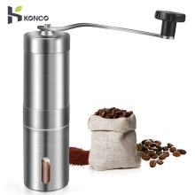 KONCO Stainless Steel Coffee Beans Grinders Mills, Manual Grinder Pepper Mill, Portable Conical Burr Mill
