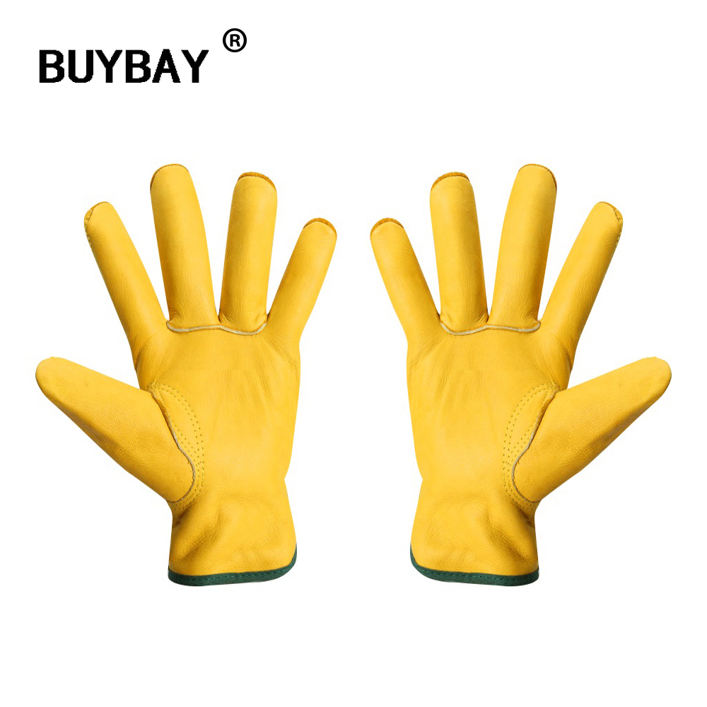 Guanti lavoro Cowhide Driver Security Protection Gloves Workers Welding Moto Wear Resisting Gloves For Men mechanic Work Gloves ...