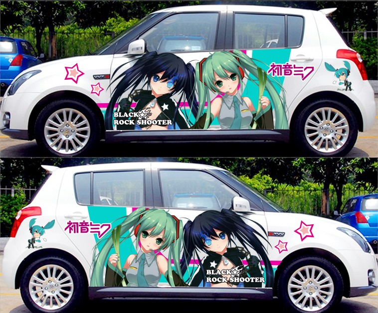 Diy japanese anime hatsune miku sticker car body cartoon stickers racing drifting acgn decals itasha g