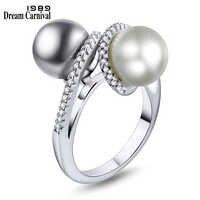 DreamCarnival 1989 Новая Мода Смешанные Два Имитация белого и серого жемчуга кубического циркония кольца для женщин Anillos Mujer WA11569
