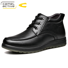 Camel Active New Leather Men Boots Autumn Winter Ankle Boots Fashion Footwear Lace Up Shoes Men Riding High Quality Snow Boots