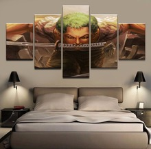 Modular Picture Painting Poster Wall Art Framework Fashion 5 Panel One Piece Zoro Roronoa Canvas For Living Kids Room Decorative