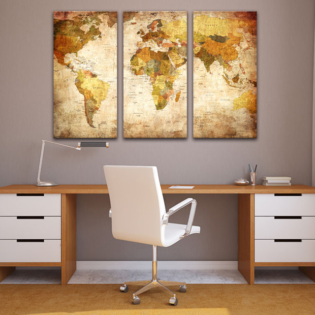 3 Pcs/Set Still Life Vintage World Maps Painting Wall Art Picture Classic Map  Canvas