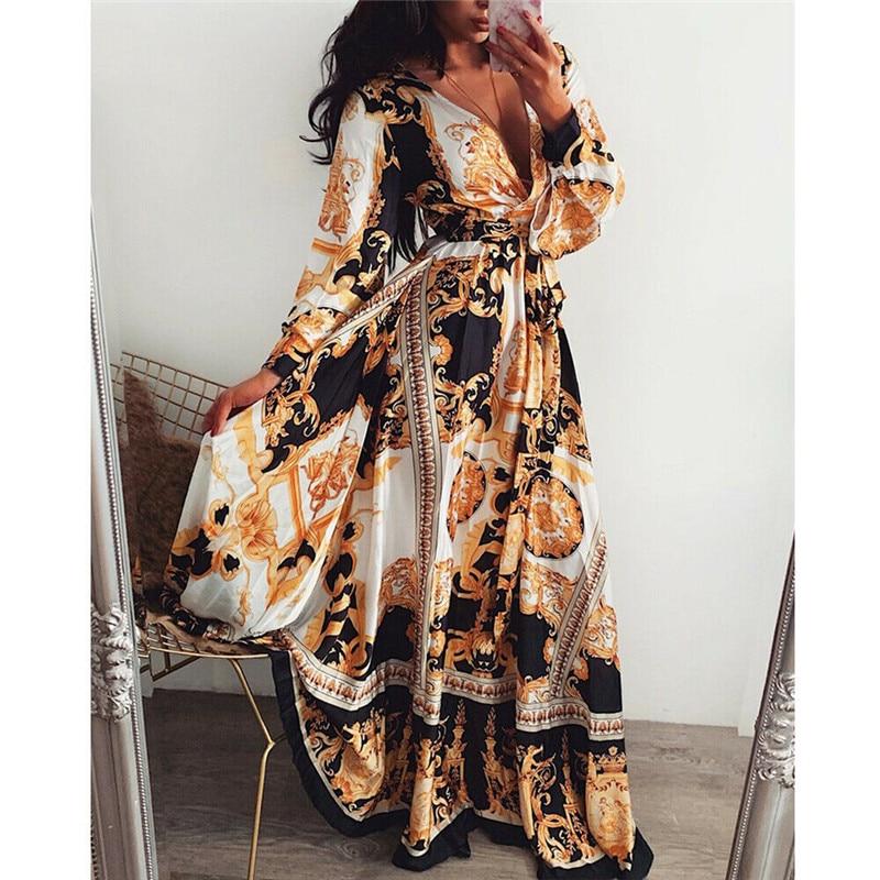 Retro Women Ladies Printed Long Dresses Long Sleeve V-neck Vintage Dress Party Gown High Waist Puff Sleeve Floor-Length Dresses 7