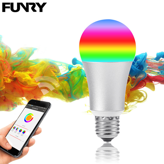 FUNRY WIFI Lamp Bulb Smart Home LED Bulb E27 5W Dimmable RGB Color Changing Lights APP Remote Control Light Bulb Work With Alexa