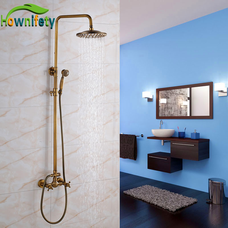 Antique Brass Bathroom Shower Faucet 8 Inch Rainfall Shower Head with Handheld Shower Wall Mount factory direct sale best price 8 brass head shower with hand shower bathroom shower faucet antique