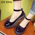 LIN REI Novo Estilo Mulheres Sapatos Casuais Dedo Do Pé Redondo Sola Grossa pulseira de Tornozelo Sapatos Lolita Bowtie PU Sólidos Bowtie Calçados Femininos Ao Ar Livre