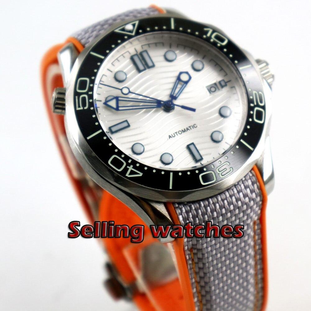 Luxury 41mm men's watch navy Silver dial super luminous saphire glass Ceramic Bezel Automatic movement wrist watch men