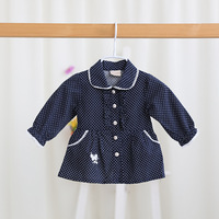 2017 New spring girls dot blouses girls shirts children dress girls clothes embroidery pockets 2 colors 5 pcs/lot wholesale 3576