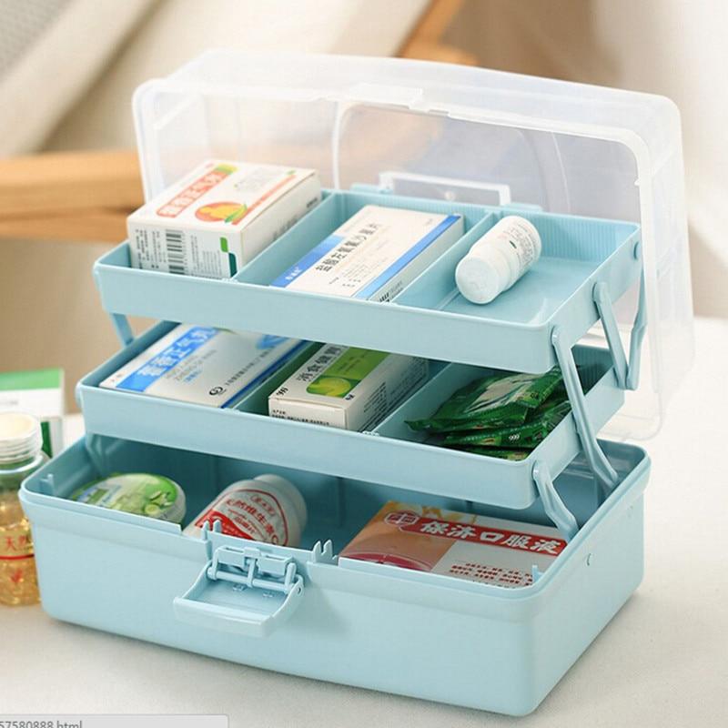 New Multifunctional Portable Three Layer Storage Box for Tool Toys and Cosmetics Medicine Organization Storage