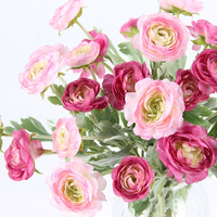 Silk Rose Pink Peony Camellia Artificial Flowers Bouquet for Home Wedding Decoration Indoor Mix Color 10 Branches