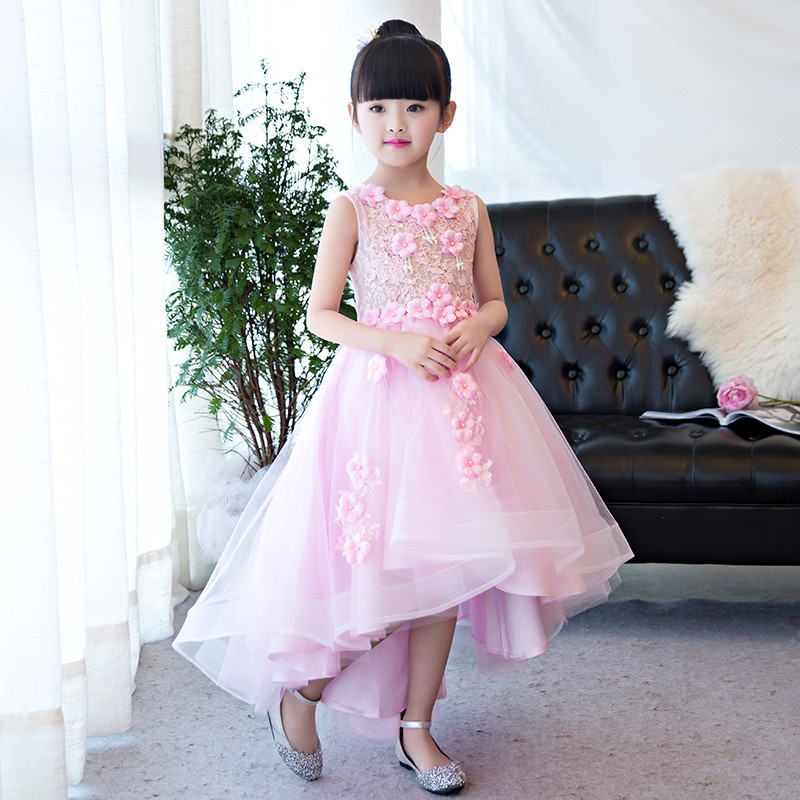 Children Girl Lace Floral Wedding Dress Sleeveless Appliques Party Tulle Princess Birthday Dresses Kids First Communion Gown T95Children Girl Lace Floral Wedding Dress Sleeveless Appliques Party Tulle Princess Birthday Dresses Kids First Communion Gown T95