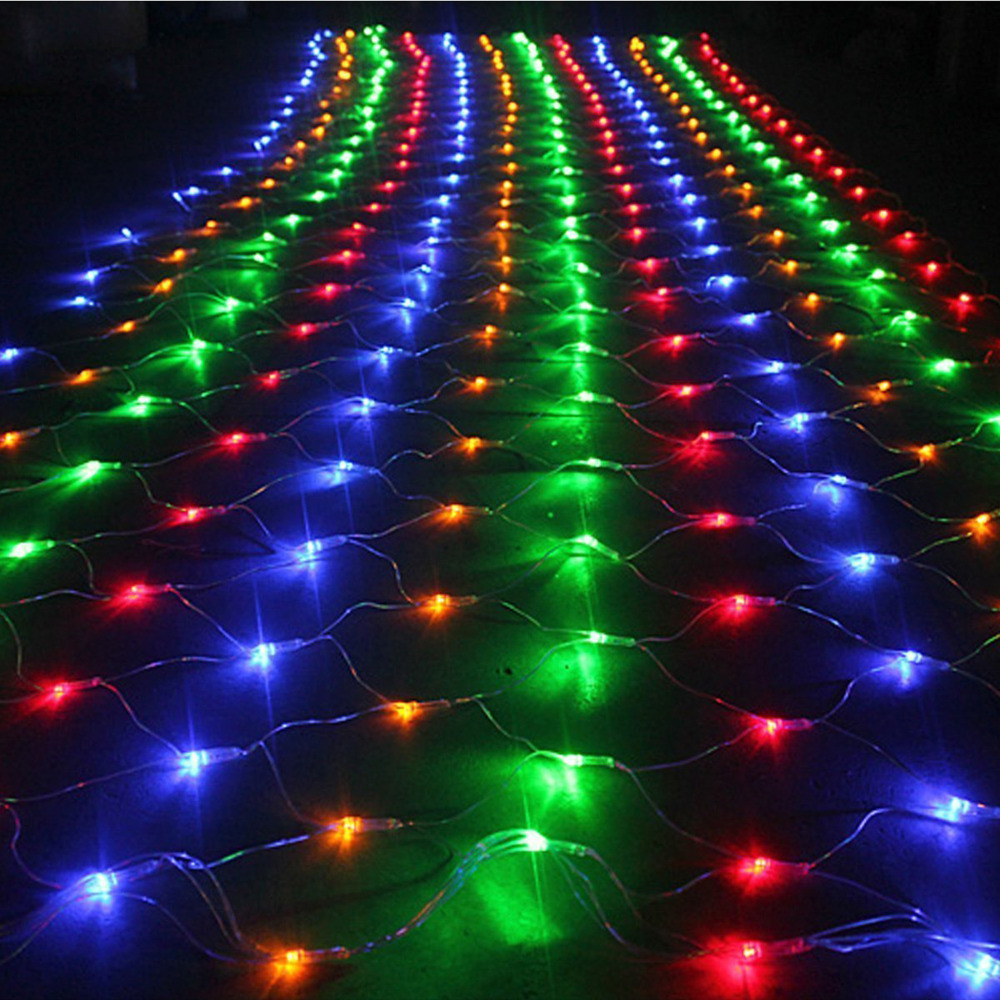 aliexpresscom buy romantic 2m3m led holiday lights christmas tree wedding party fairy string light wall window decor net mesh curtain euus plug from - Led Net Christmas Lights