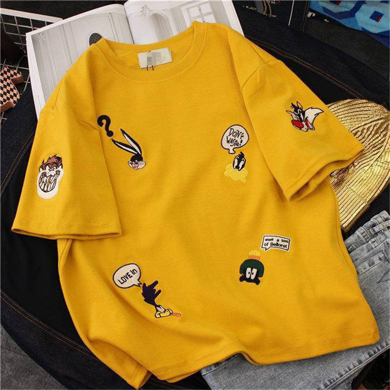 2019 summer Women embroidery Loose   t  -  shirt   Casual Oversize   T  -  shirt   Femme Short Sleeve O-neck Tops Streetwear Harajuku Tshirts