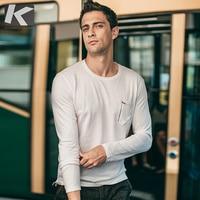 Autumn Men T Shirt 100% Cotton Zipper Pocket White Black Color Man Casual Long Sleeve Slim T Shirt 2018 Male Wear Tee Shirt 1030