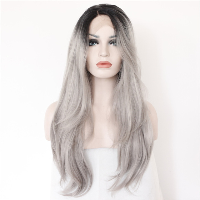 2 Tones Synthetic Lace Front Wig Gray Grey Silver Ombre Hand Tied  Wigs Dark Roots Heat Resistant Fiber Hair
