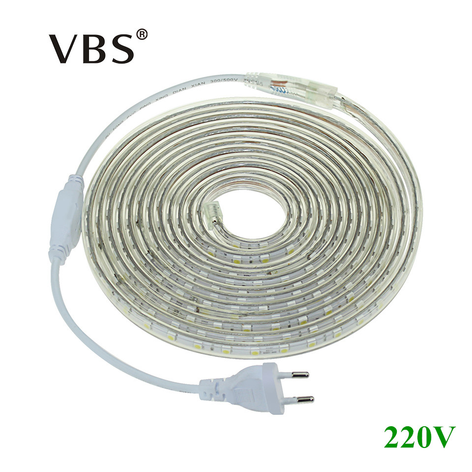 1Set LED Strip Light 5050 SMD AC220V Tubo de silicona impermeable 1M / 2M / 3M / 4M / 5M / 6M / 7M / 8M / 9M / 10M / 15M / 20M 60LEDs / M + enchufe de la UE
