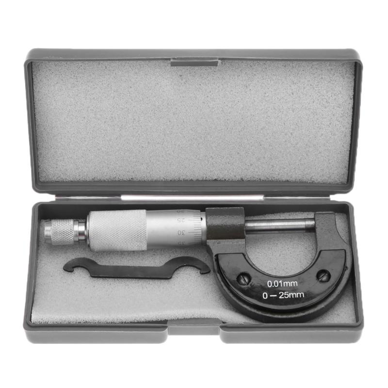 Outside Micrometer 0-25mm/0.001mm Gauge Vernier Caliper Measuring Tool With Retail Box
