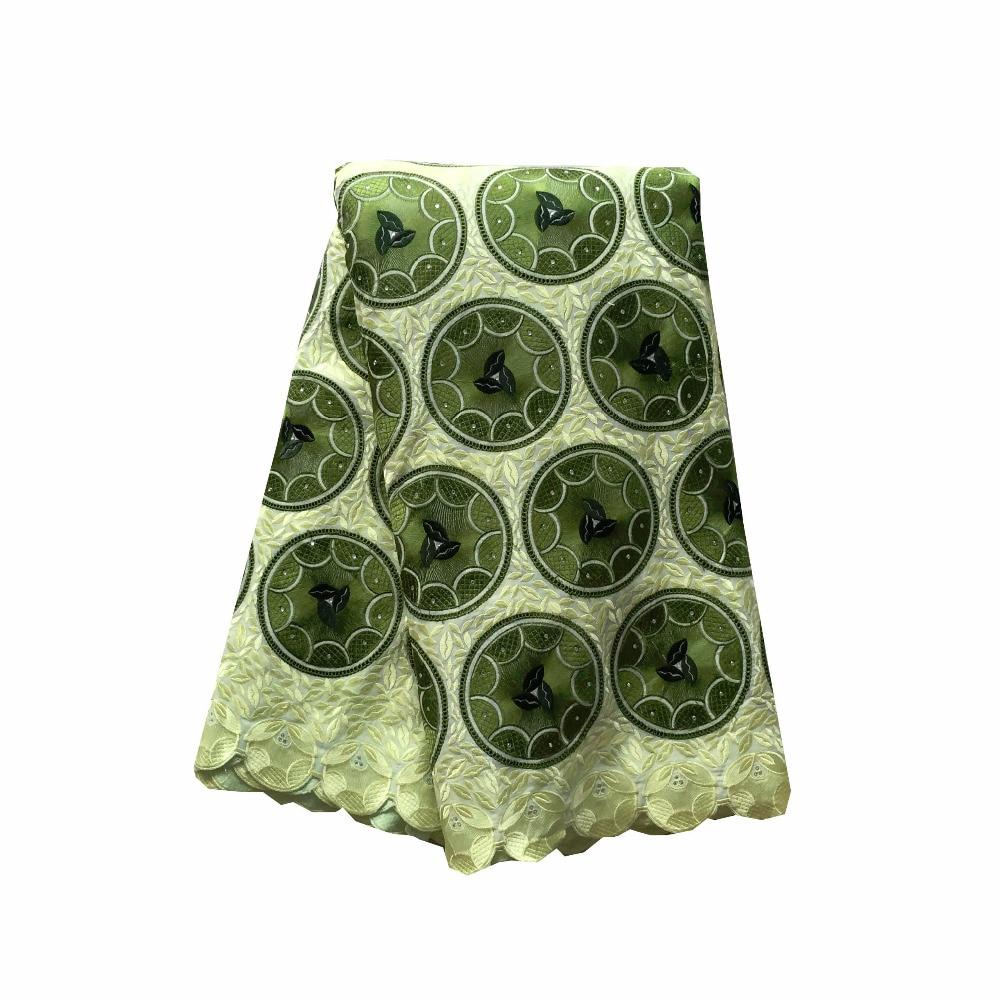 629e49d1aa Di alta Qualità Africano voile Svizzero del merletto 052 Limone + Verde, 5  yards/pack, 100% Cotone Voile Merletto di Cerimonia Nuziale Africano