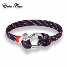 Endless August Charm Multilayer Navy Style leather Braided Rope Stainless Steel Buckles Survival Bracelet for Men Women pulseras