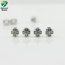 2017 New Fashion Wholesale Antique Silver cross Accessories For Making Jewelry 6x6mm  (20 pieces/lot) ZA1067