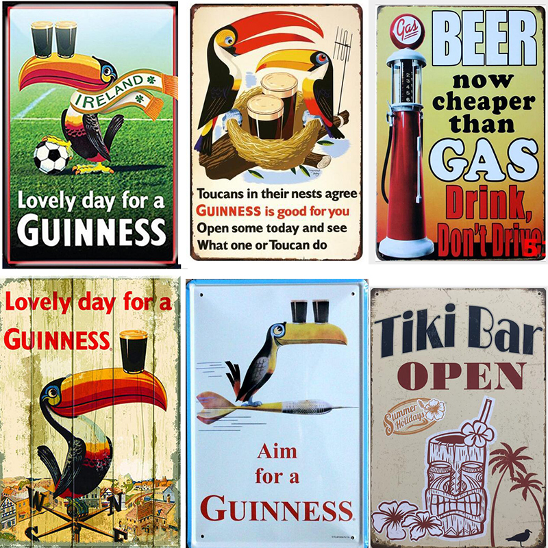 Metal Garage Guinness Stout Advertising Sign Vintage Toucan Beer Garden Plaque