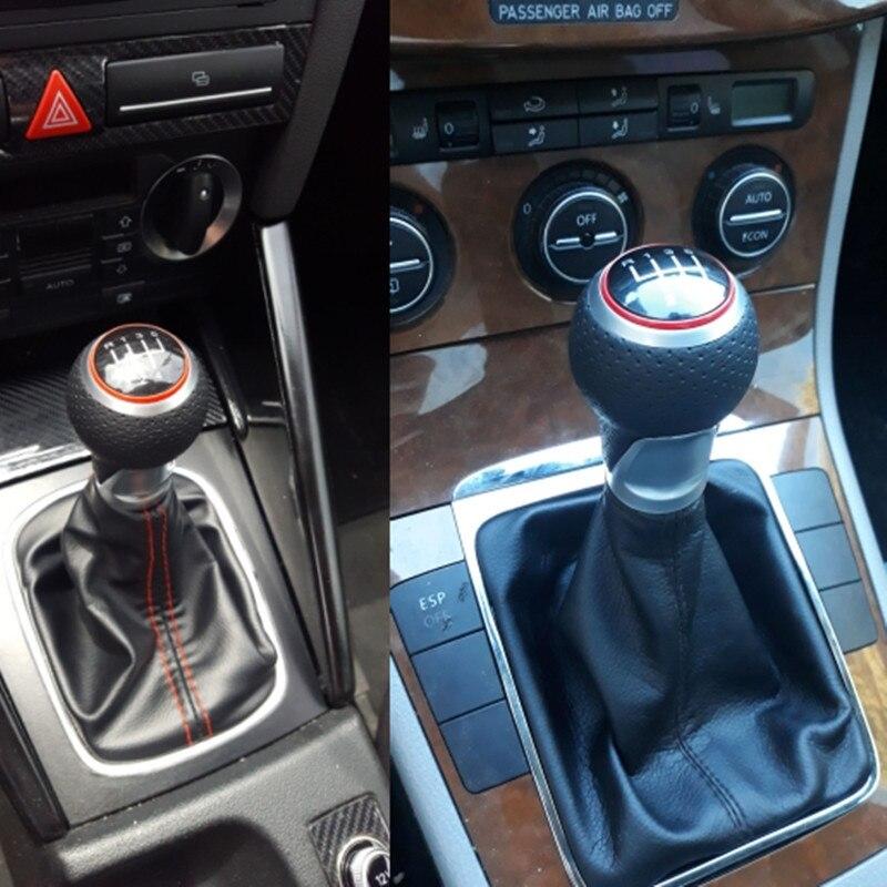 Red KIMISS 6 Speed Shift Knob Car Manual Gear Stick Shifter Head for Audi A4 S4 B8 8K A5 8T Q5 8R S Line 2007-2015