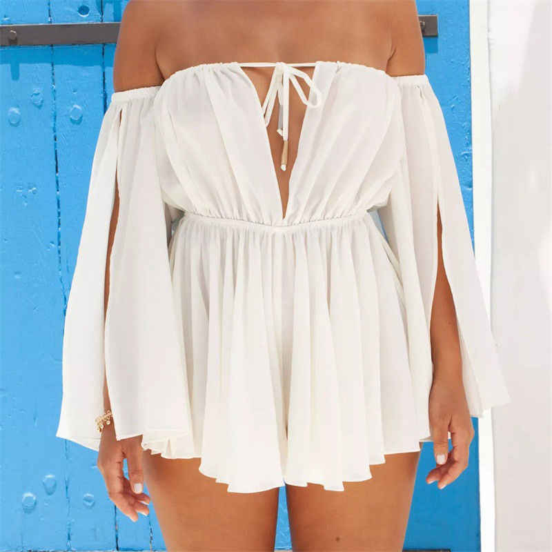 US Women's Boho Chiffon Summer Beach Dress Summer Hot Female Solid Color Party Evening Beach Short Mini Dress Sundress