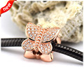 Fits Pandora Bracelet Charms CKK 925 Sterling Silver Beads for Jewelry Making Rose Pave Butterfly Silver Charm DIY Jewelry L358R