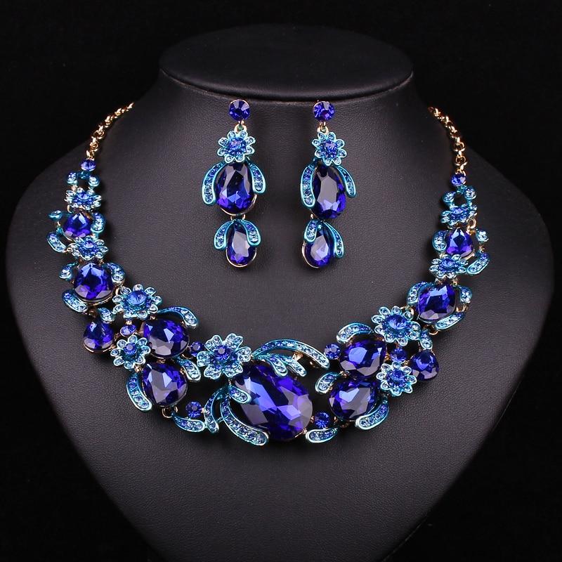Fesyen Bunga Set Perhiasan Pengantin Kalung Perkahwinan Untuk - Perhiasan fesyen - Foto 4