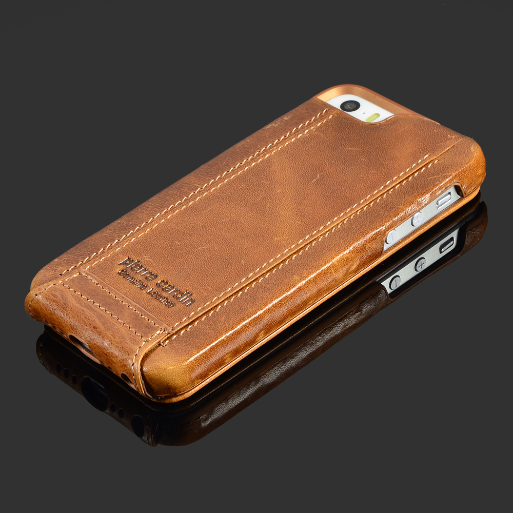 "imágenes para Pierre Cardin Marrón Funda De Cuero Genuino Para el iphone de Apple SE/5/5S 6/6 s 4.7 ""6/6 s Plus 5.5"" Cubierta de piel Flip Case Open Up and Down"