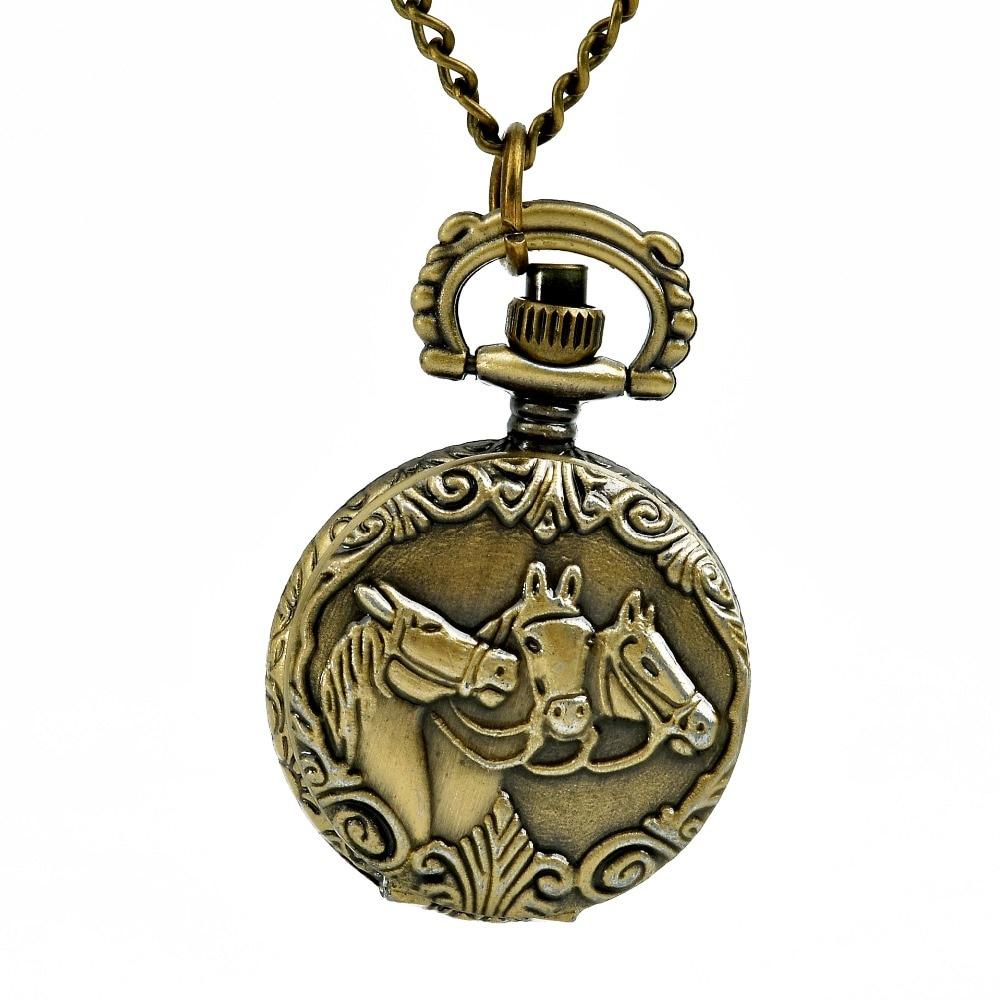 Antique Bronze Three Horse Pocket Watch Necklace Animal Pattern Watch Unique Hand Wind FOB Chain Women