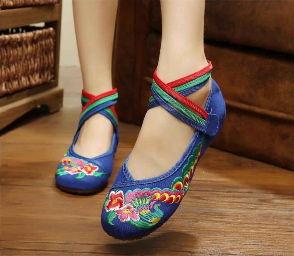 29 Nuevo Estilo Antiguo Pekín Zapatos Chinos de Las Mujeres Talón Plano Con Bord