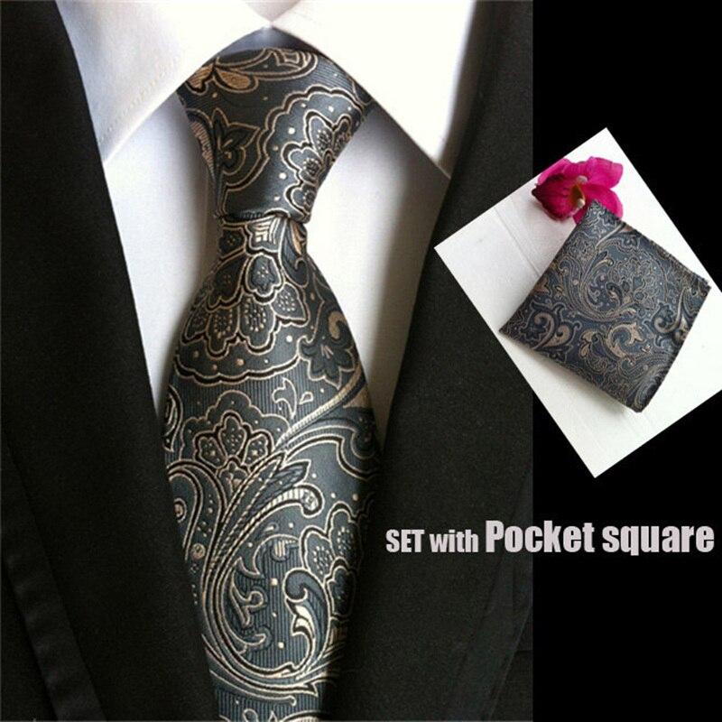 High Quality Necktie Set Paisley Gray Silk Menss
