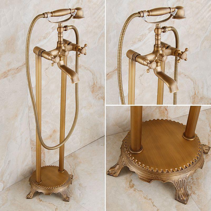 European Style Bathtub Faucet Copper Faucet Vertical Landing Royal Antique Retro Hot Shower Set Standing Shower Set